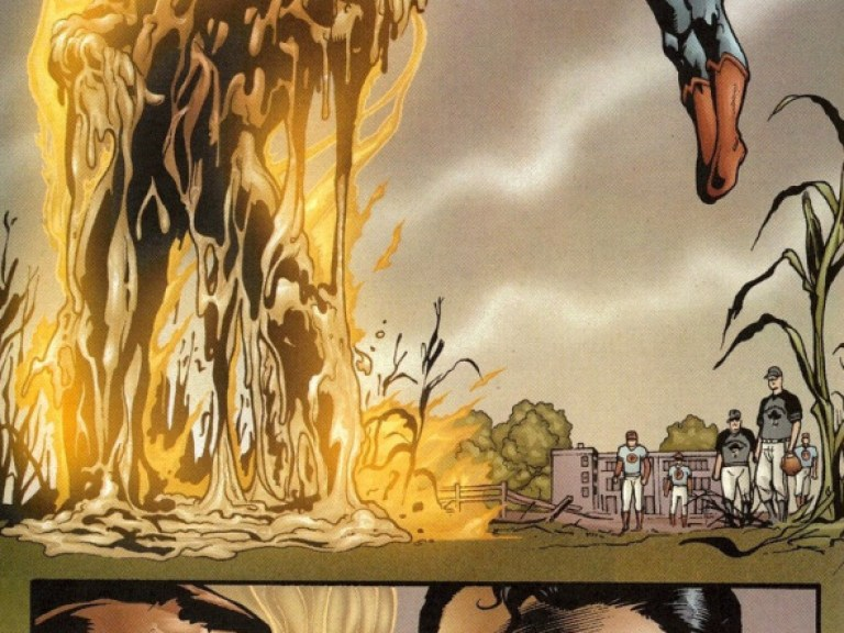 """In 'Superman #185' (2002), Superman melts Major Force's Dilustel Armor and hovers above him saying: """"Are we clear, Major?"""""""