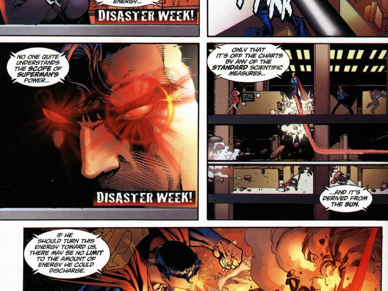 """In 'Superman #218' (2005), it is stated during Disaster Week that Superman's heat vision is """"off the charts by any standard scientific measures""""."""