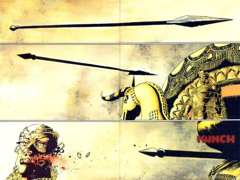 In '300', King Leonidas' arrow injures Xerxes' right cheek. Photo/Dark Horse Comics.