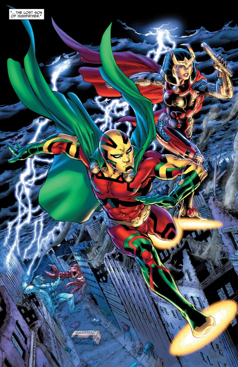 In 'Earth 2 #11' (2013), Mister Miracle and Big Barda fly in Gotham City on their aero-discs.