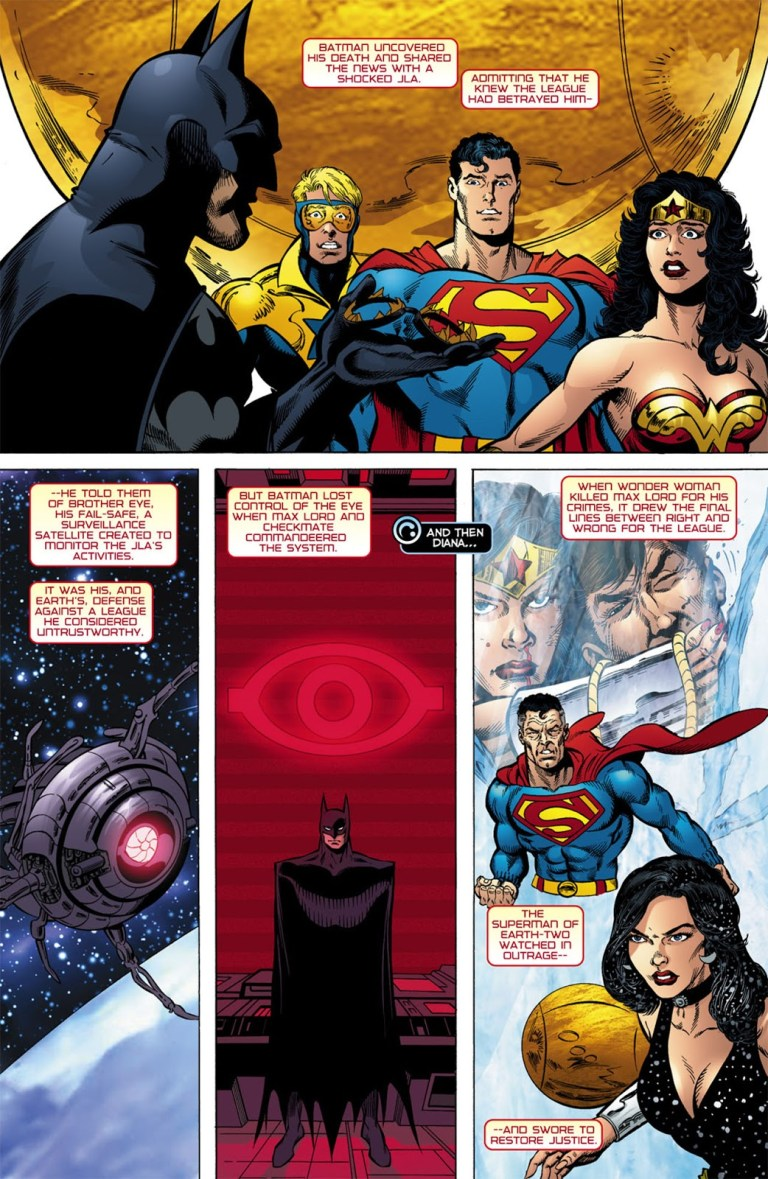 In '52' (2006) #10, Donna Troy speaks about the events surrounding Batman creating Brother Eye.