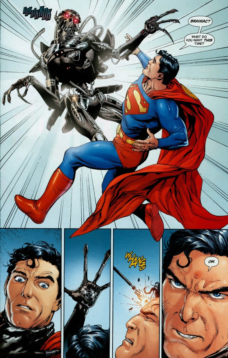 In 'Action Comics' (2008) #866, Superman makes first contact with a Brainiac probe.