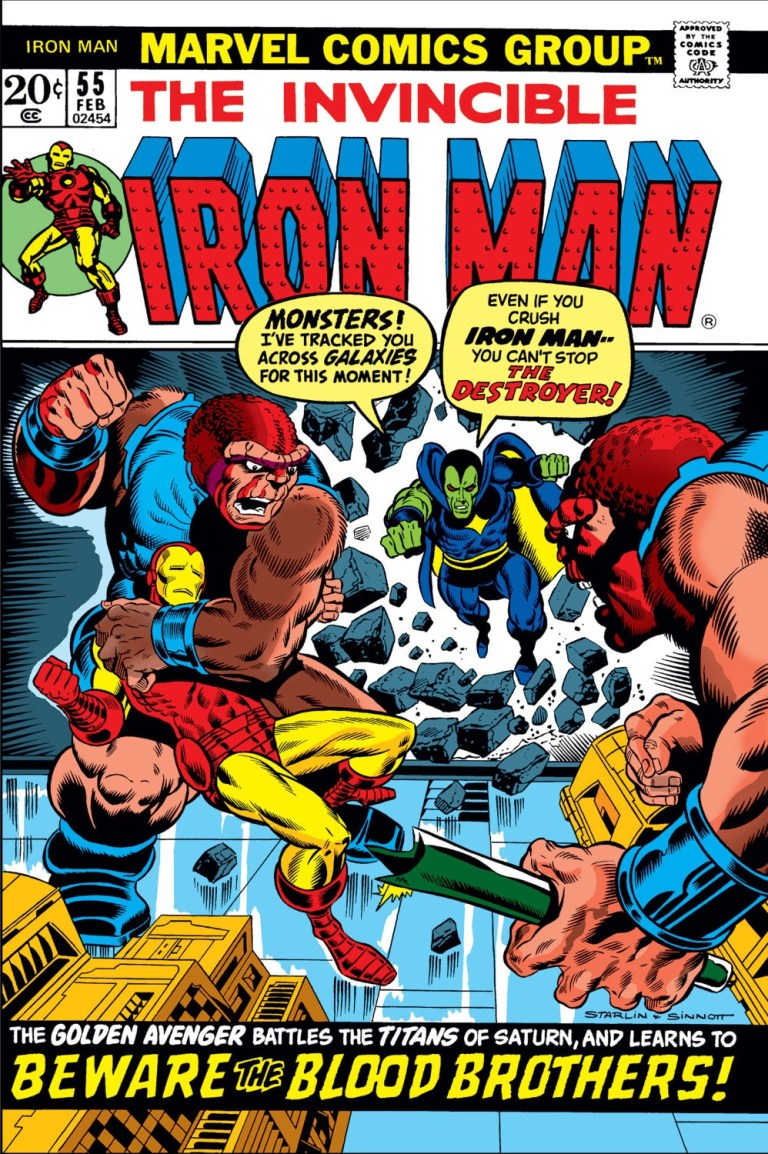 'Iron Man' (1973) #55, marks the first appearances of Thanos and Drax in Marvel continuity. In an attempt to stop the Blood Brothers at Spawn's warning, Iron Man is transported to Thanos' base.