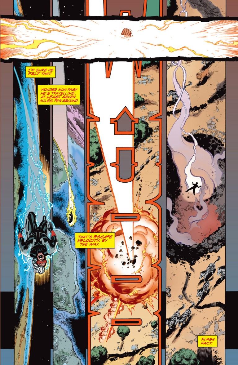 In 'JLA' (1997) #3, Flash's infinite mass punch sends Zum into escape velocity at seven miles per second.