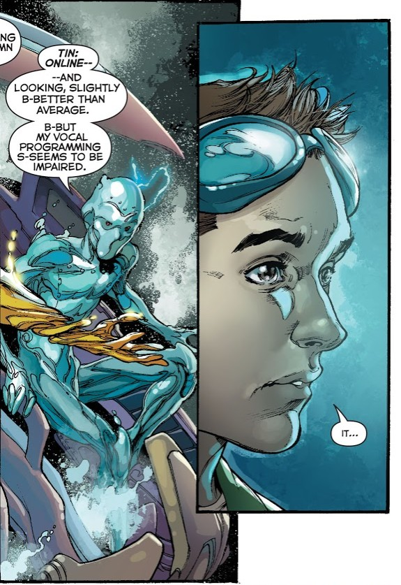 In 'Justice League' (2014) #28, Tin comes online second.