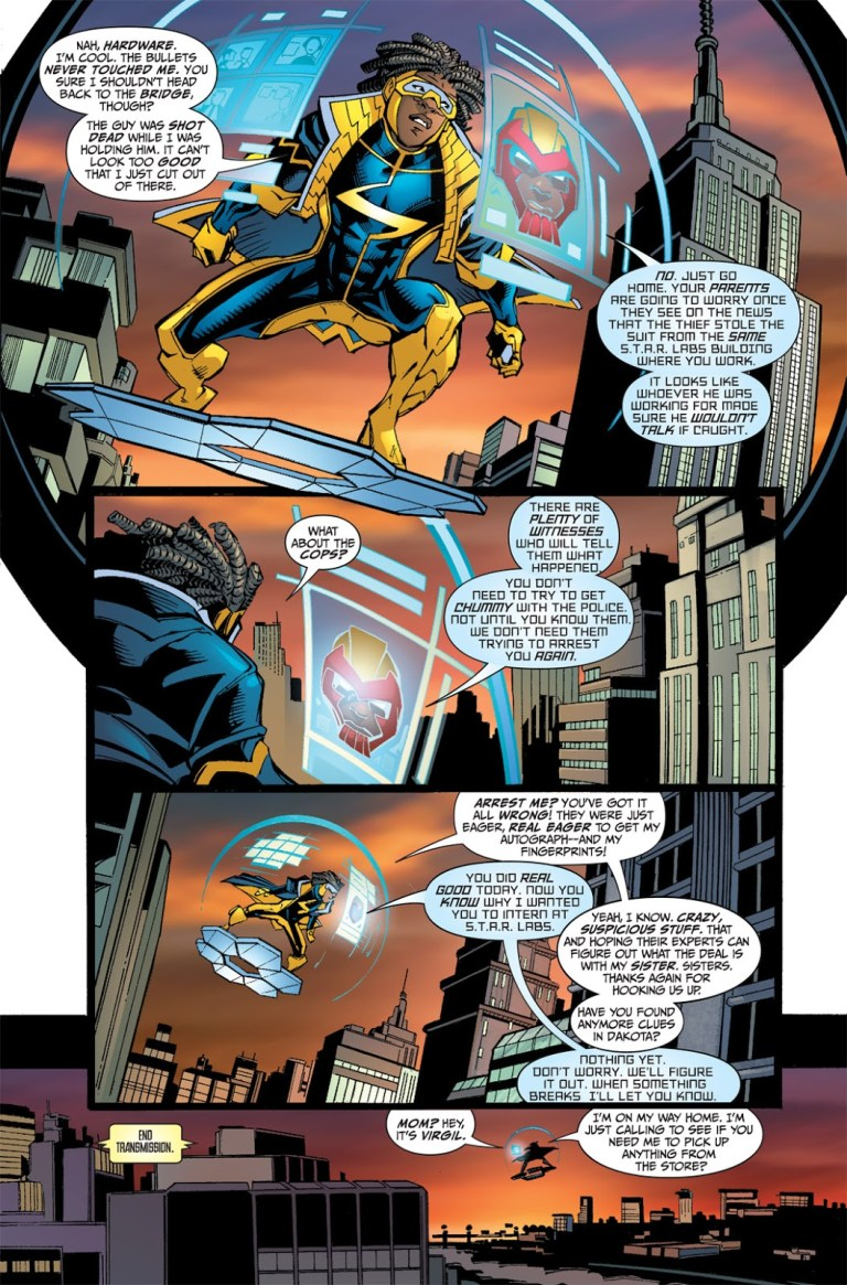 In 'Static Shock' (2011) #1, Hardware reminds Static Shock he is lucky for not having been arrested.