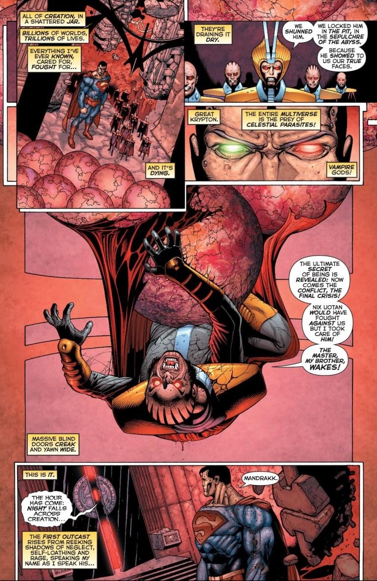 In 'Superman Beyond' (2009) #2, Superman meets Mandrakk at Cosmic Midnight.