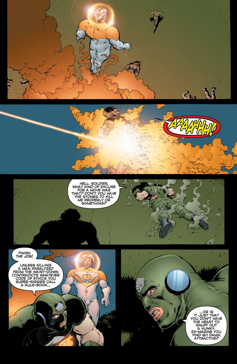 In 'The Authority' (2000) #16, Apollo burns The Commander's legs from the waist down.