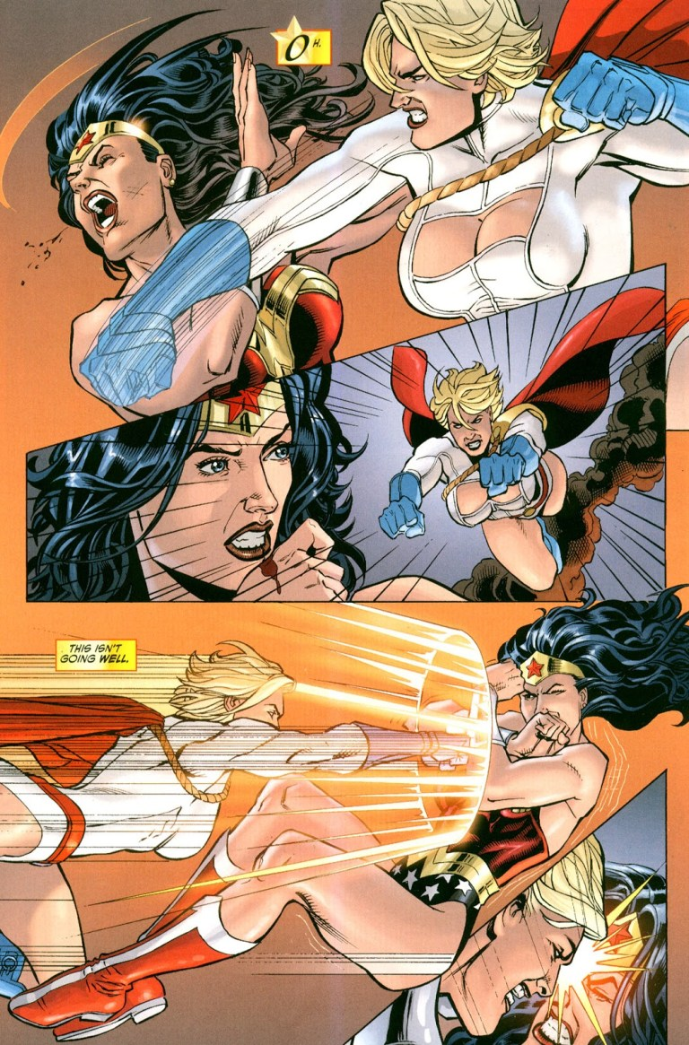 In 'Wonder Woman' (2010) #41, Power Girl possessed by the Children Of Ares punches Wonder Woman.