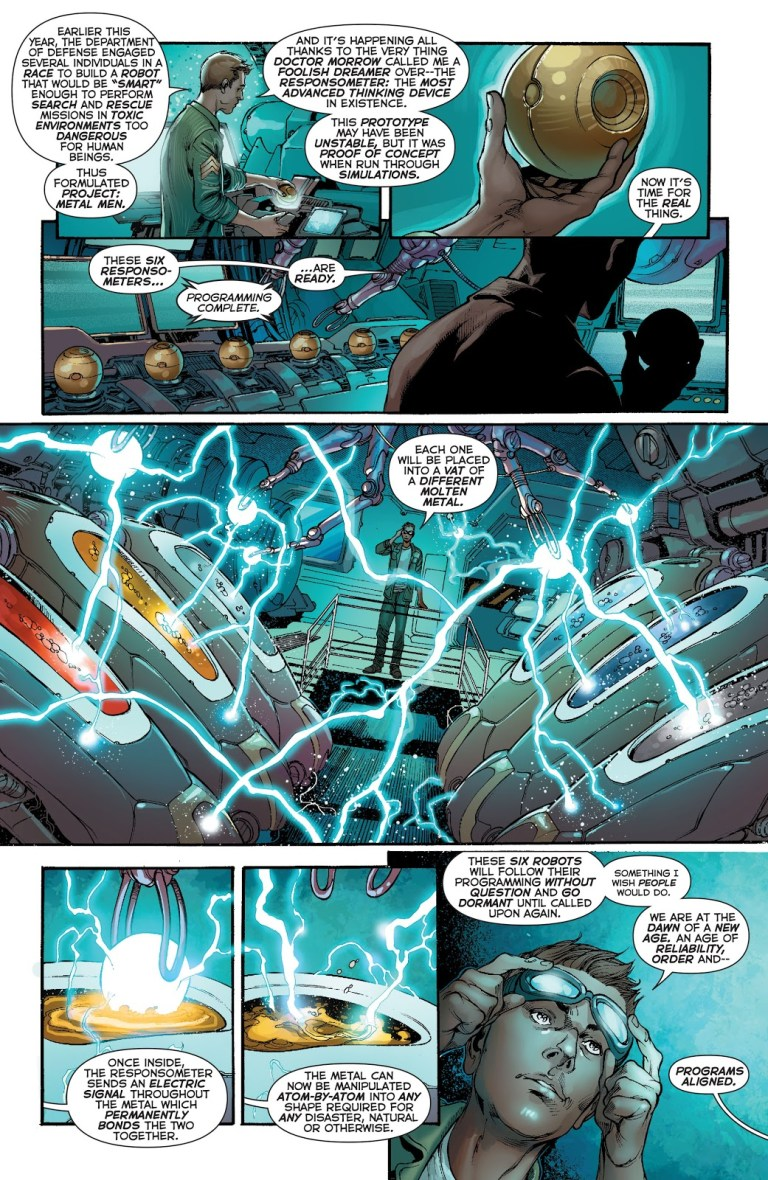In 'Justice League' (2014) #24, Dr. William Magnus creates the Metal Men by placing their responsometers in a vat of a different molten metal.