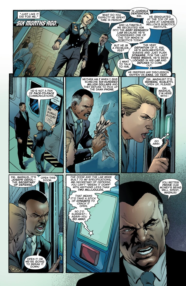 In 'Justice League' (2014) #28, Secretary of Defense Joseph Devol and General Scaletti knock at the door of Dr. William Magnus' lab working on the Metal Men U.S. army project.