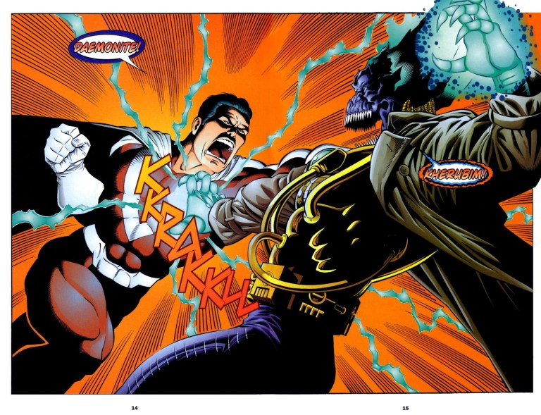 In 'Team One: WildC.A.T.s.' (1995) #2, Mr. Majestic tanks a blast to the chest from Helspont.