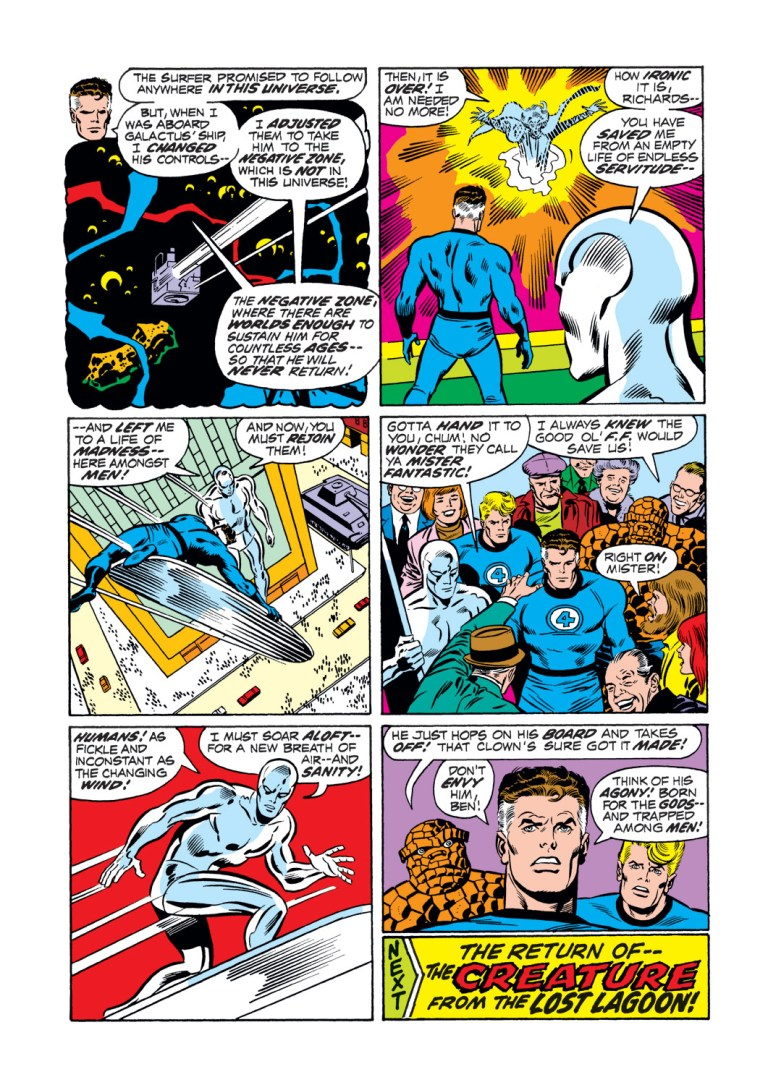 In 'Fantastic Four' (1972) #123, Mister Fantastic performs an intelligence feat. Mister Fantastic programs Galactus' ship to send Galactus to the Negative Zone.