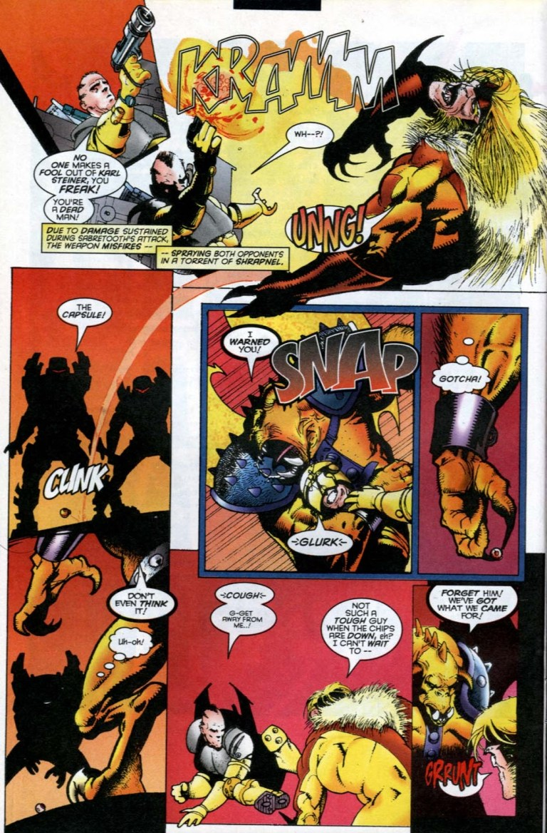 In 'Sabretooth and Mystique' (1996) #1, Mystique metamorphed into a gargoyle fights A.I.M.