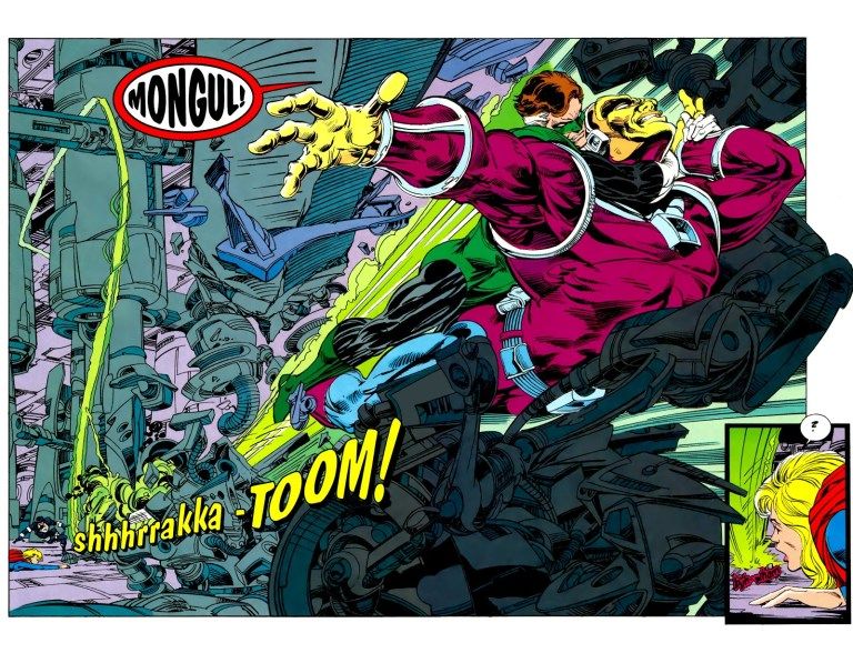 In 'Green Lantern' (1993) #46, Green Lantern (Hal Jordan) battles Mongul I in Engine City over Cyborg Superman's destruction of Coast City.