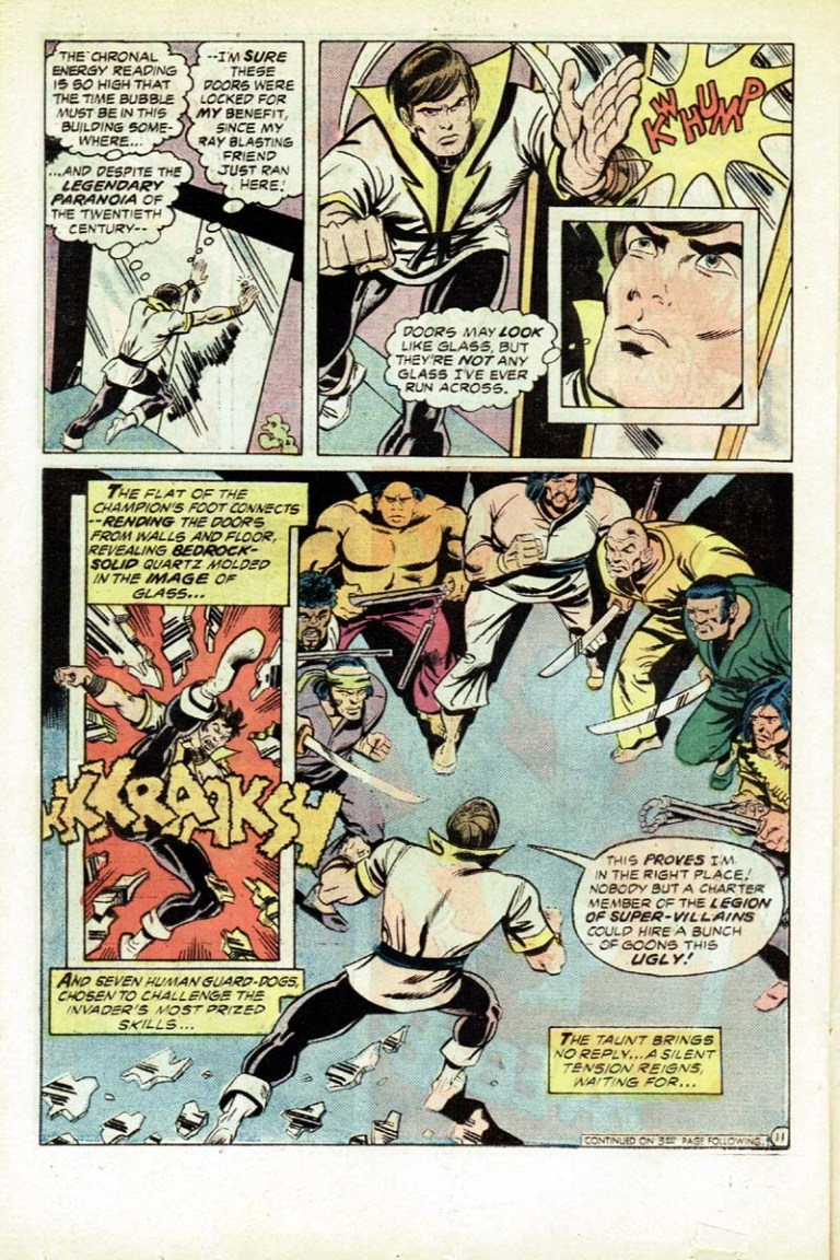 In 'Karate Kid' (1976) #1, Karate Kid storms through Future Tech, and faces seven armed guards.