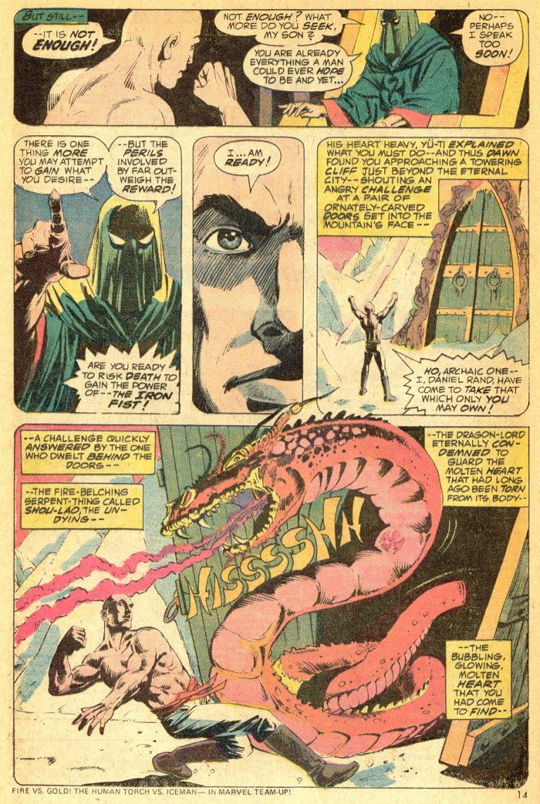 In 'Marvel Premiere' (1974) #16, Danny Rand battles Shou-Lao the Undying for the power of the Iron Fist.