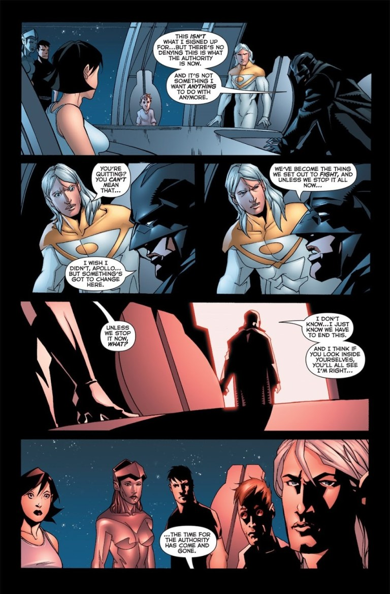 In 'The Authority: Revolution' (2005) #5, Midnighter resigns from the Authority.