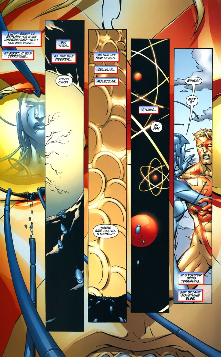 In 'Captain Atom: Armageddon' #6, Engineer removes the Void signature from Captain Atom averting the Worldstorm.