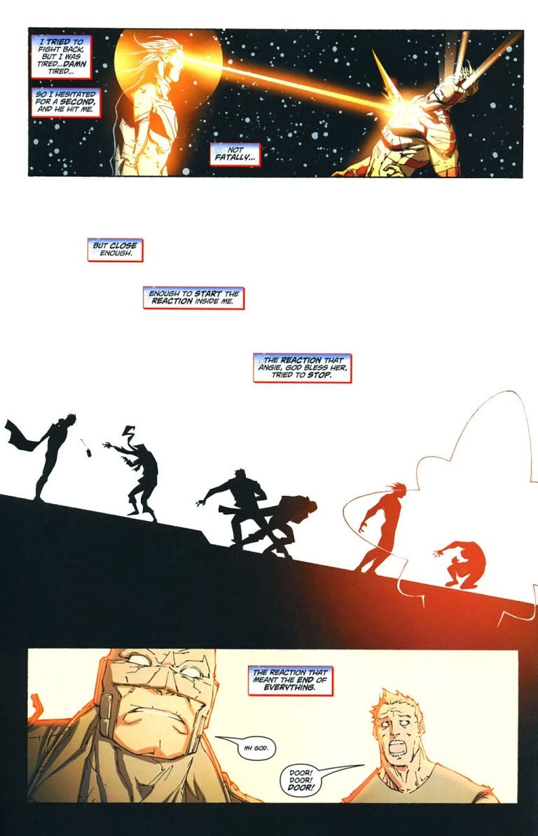 In 'Captain Atom: Armageddon' #9, Apollo attacks Captain Atom with laser beams, starting the Worldstorm of the Wildstorm Universe.