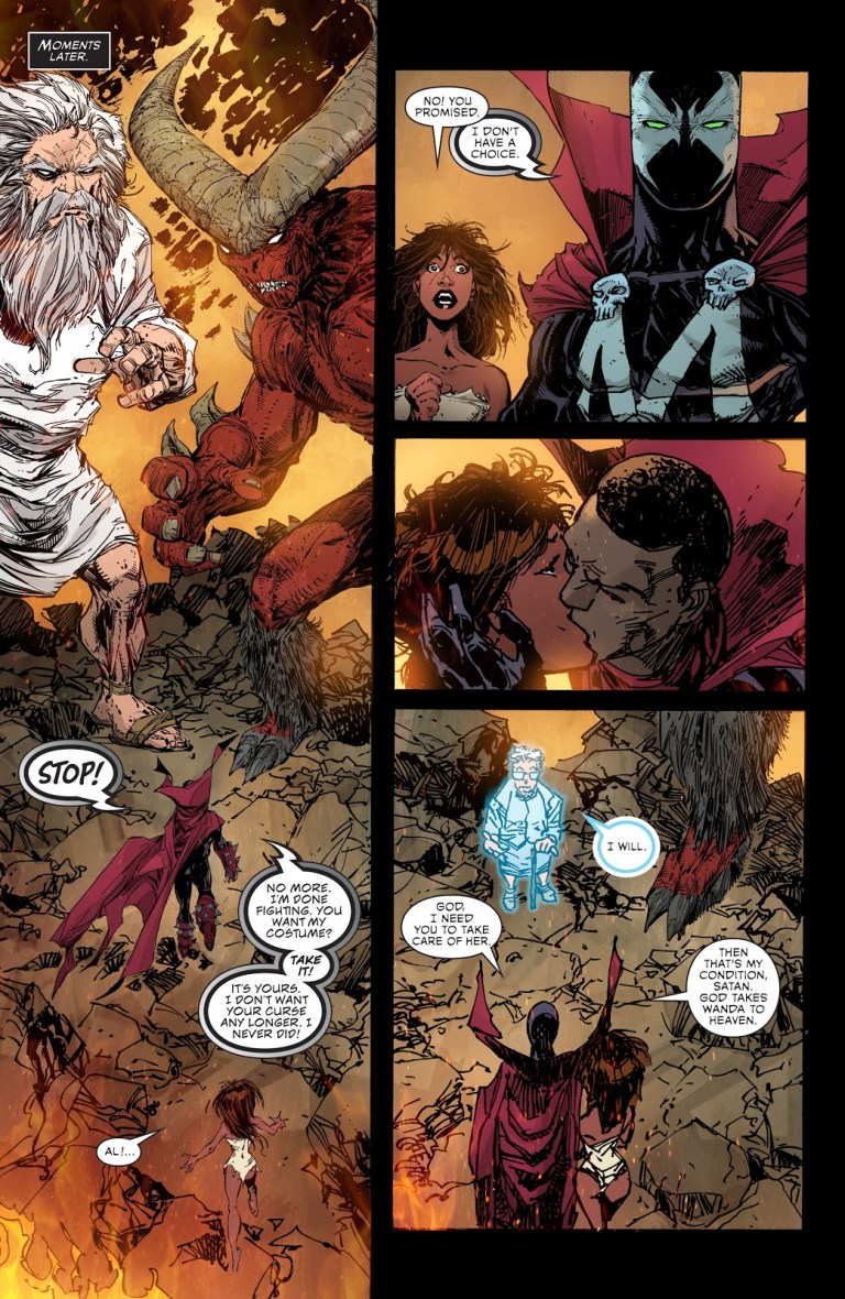In 'Spawn' (2016) #262, Al Simmons agrees to return the symbiote in exchange for Wanda's freedom to Heaven and his own freedom.