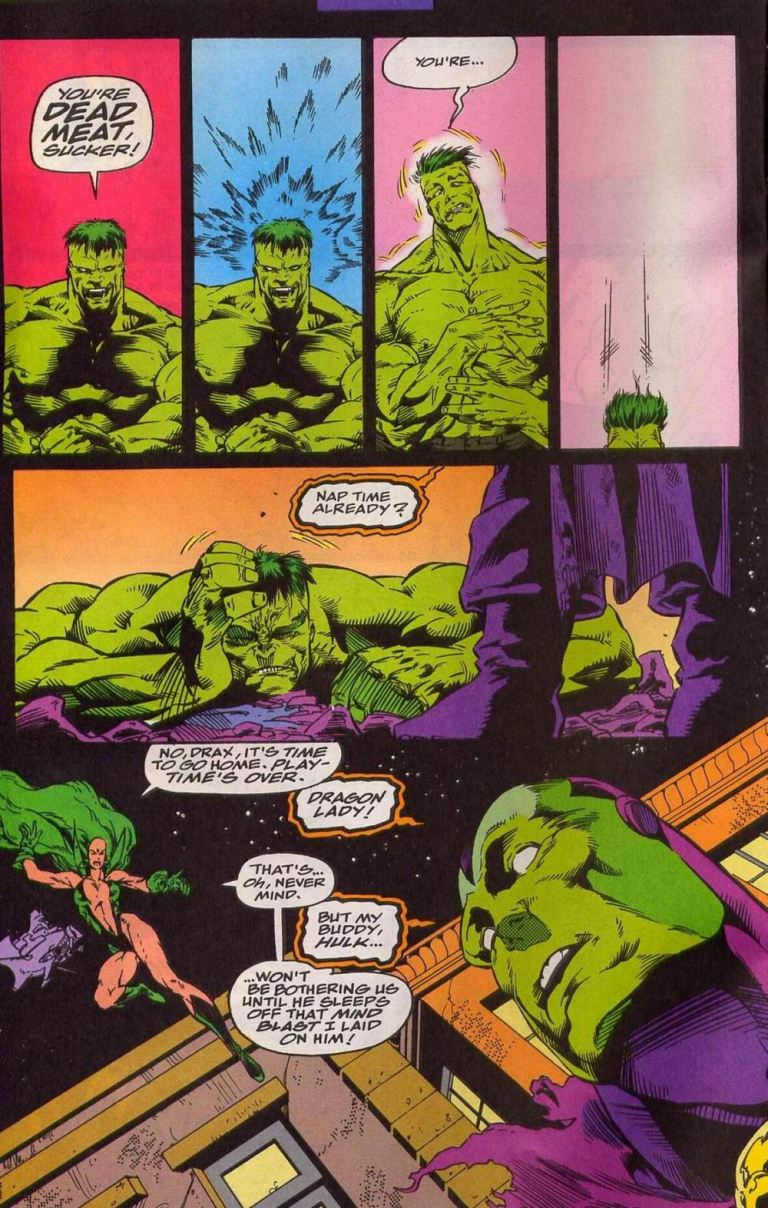 In 'Warlock and the Infinity Watch' (1993) #13, Moondragon uses the Mind Gem to knockout Hulk with a mind blast.