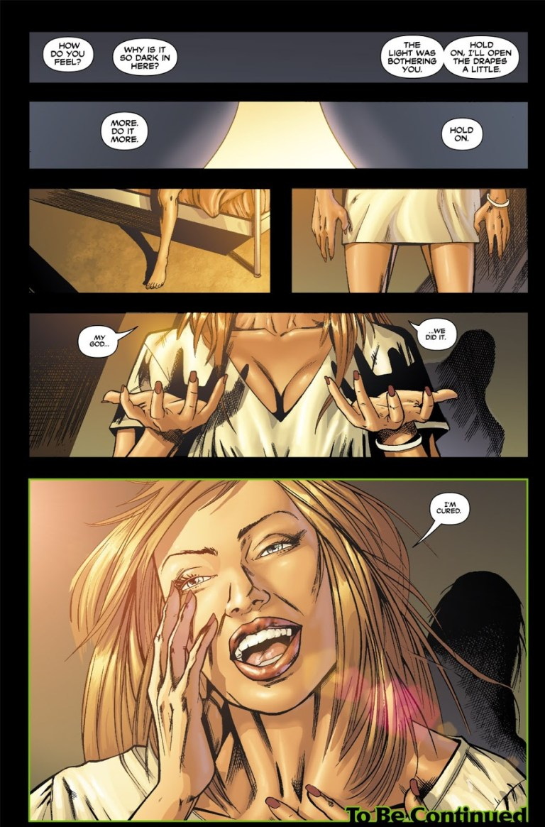 In 'Batman: Gotham Knights' (2005), Bruce Wayne cures Pamela Isley of her toxic Poison Ivy form.