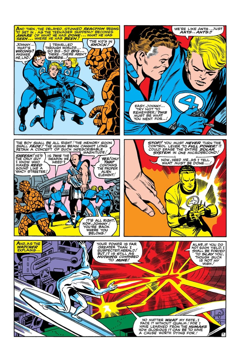In 'Fantastic Four (1966) #50, the Human Torch retrieves the Ultimate Nullifier for Mister Fantastic to use against Galactus as specified by Uatu the Watcher.