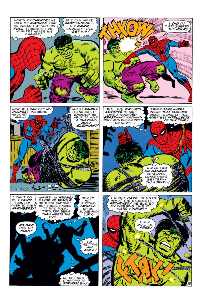 In 'Amazing Spider-Man Annual' (1966) #3, Spider-Man staggers the Hulk with a punch.