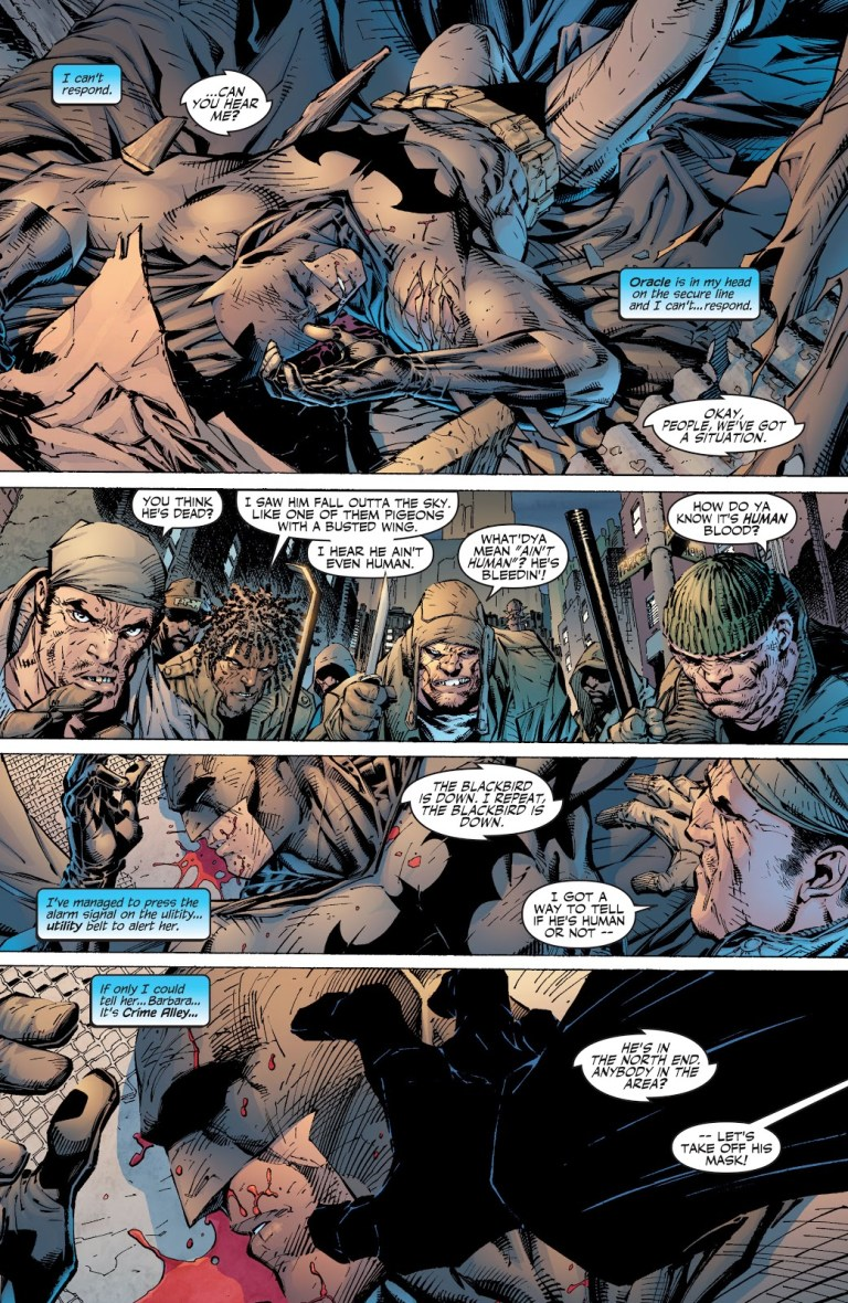 In 'Batman' (2003) #609, Batman has a skull fracture and is immobilized on the ground as he is attacked by thugs.