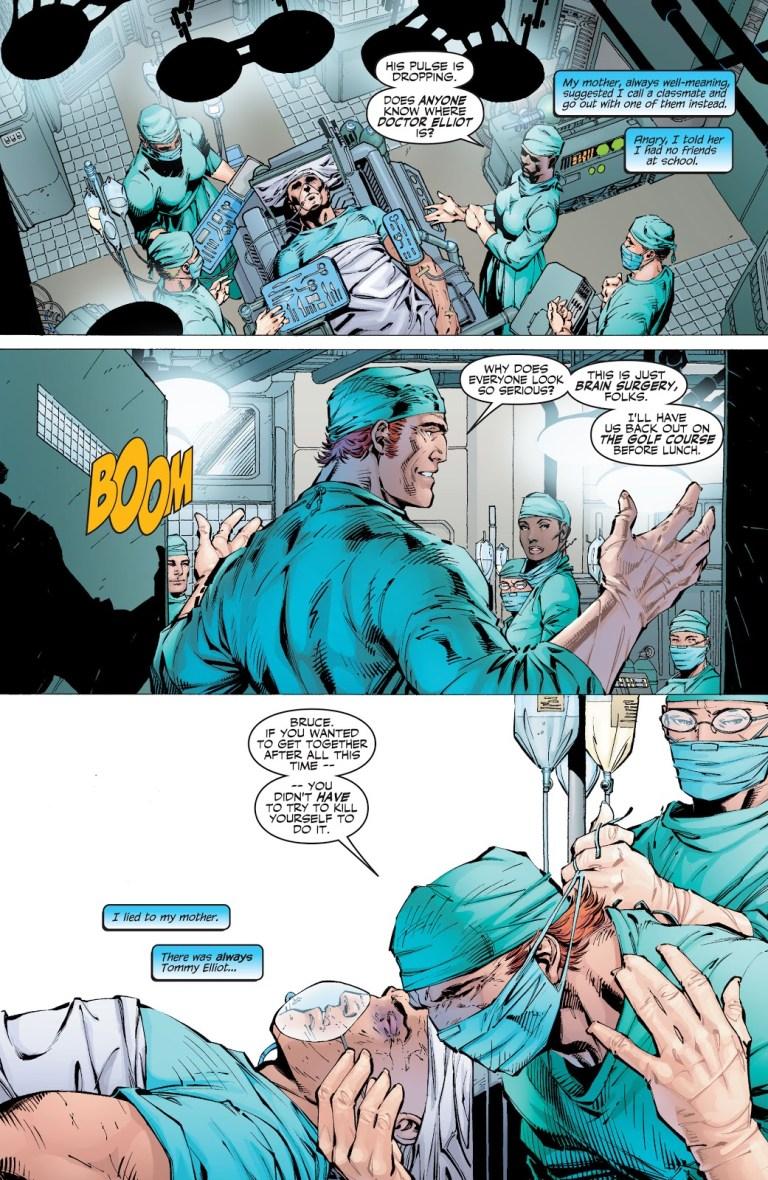 In 'Batman' (2003) #609, Dr. Elliott operates on Bruce Wayne's skull fracture.