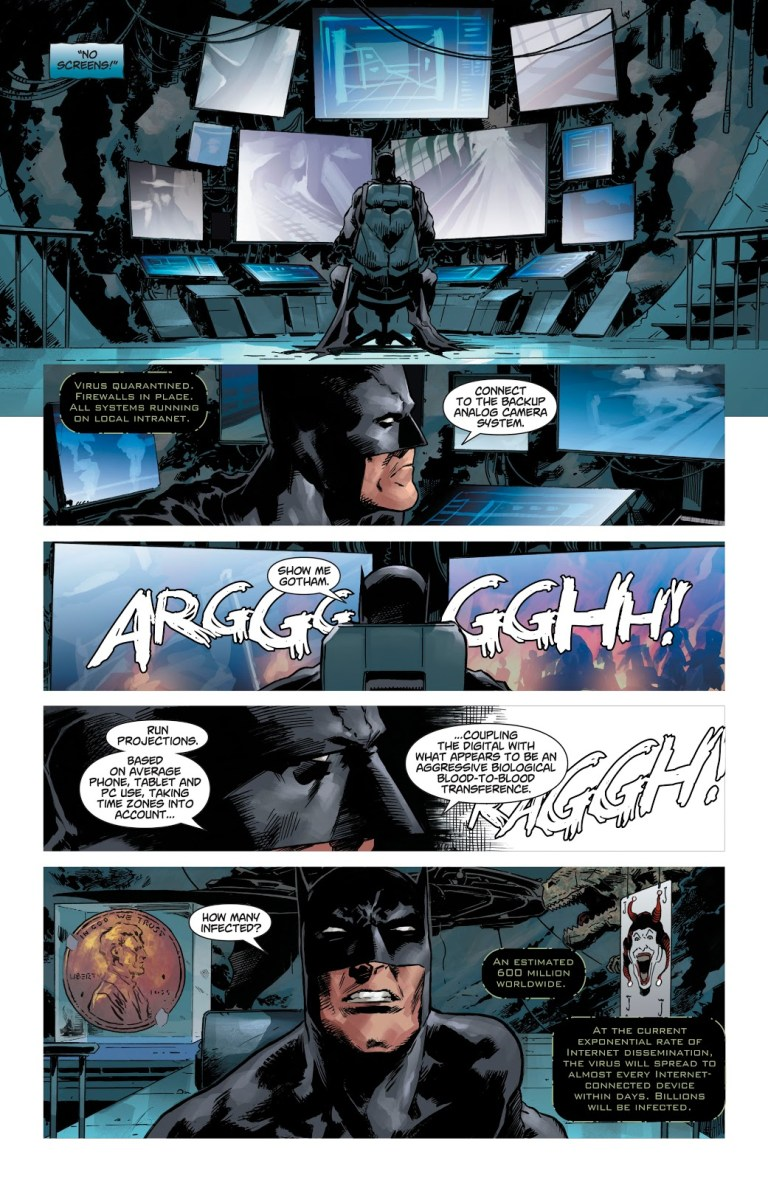 In 'DCeased' (1999) #1, the Batcave's systems go offline and estimate 600 million are affected.