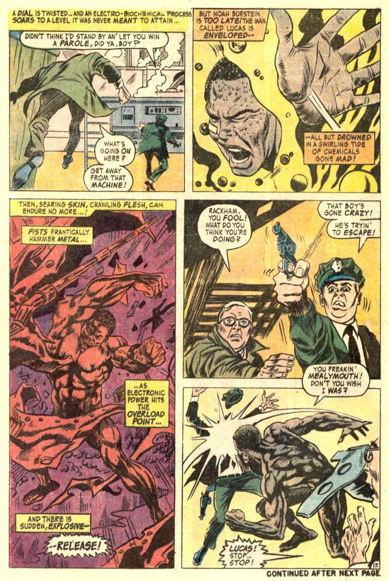 In 'Hero For Hire' (1972) #1, despite a murder attempt, Lucas Cage emerges alive and enhanced from the Burnstein Process.