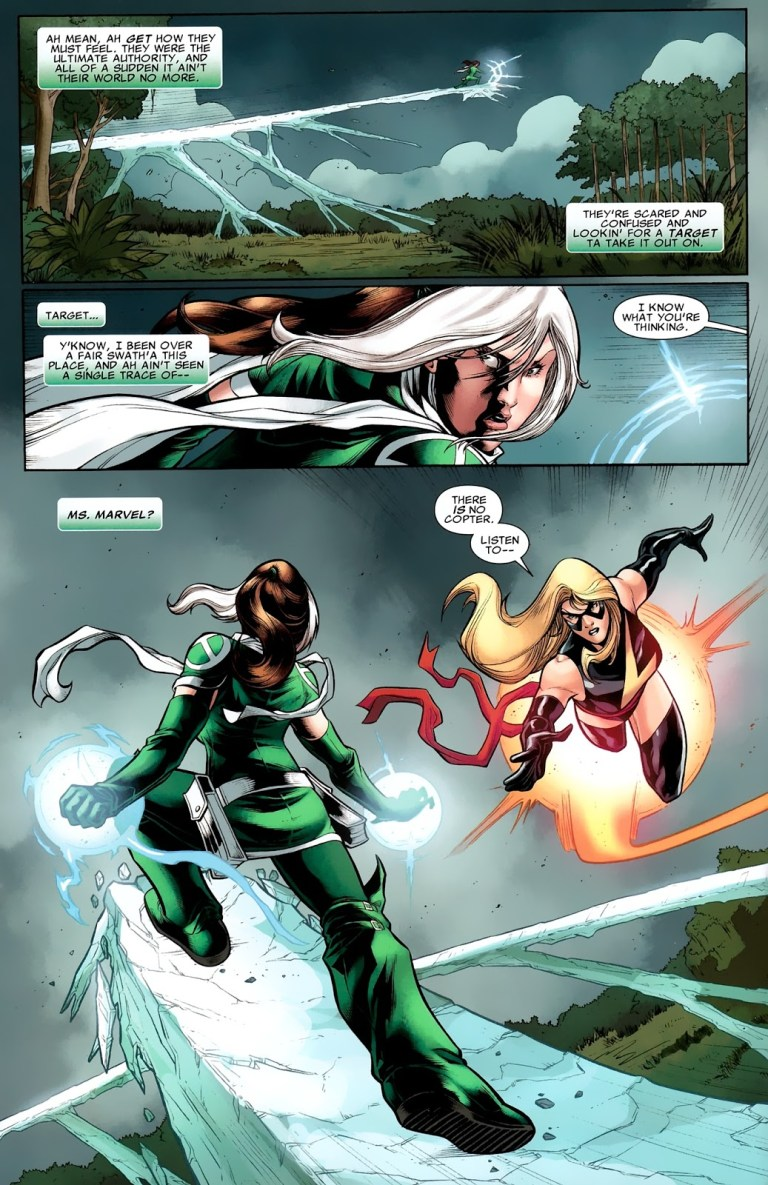 In 'X-Men: Legacy' (2008) #269, Ms. Marvel and Rogue fight over the Phoenix Five.