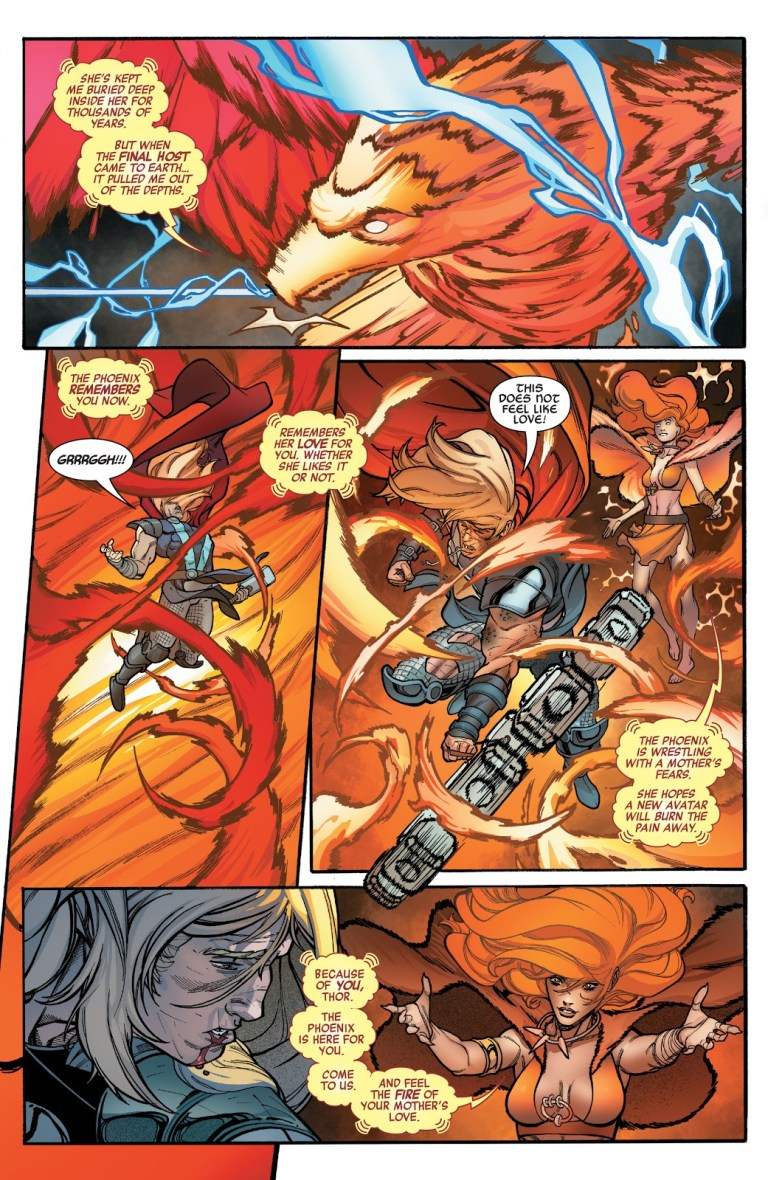 In 'Avengers' (2021) #42, Thor battles Phoenix and finds out he is her son.