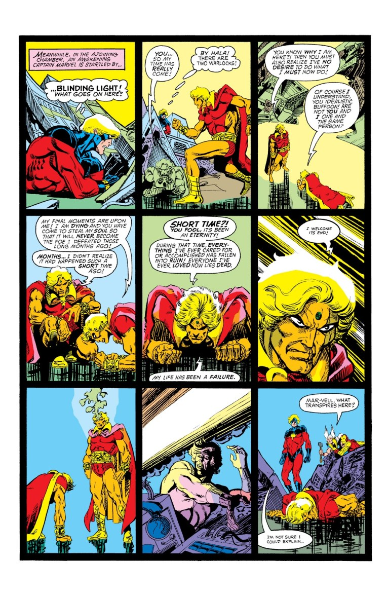In 'Avengers Annual' (1977) #7, Adam Warlock's future self steals his soul to prevent the birth of Magus.