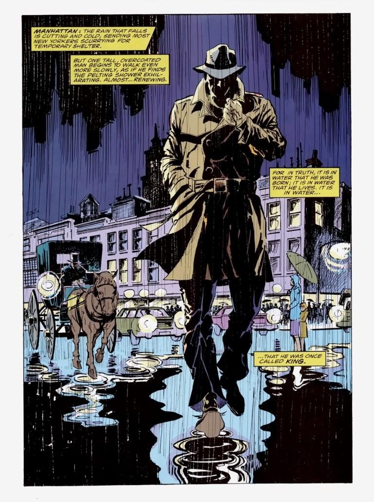 """In """"Avengers: Emperor Doom"""" (1987), Namor walks towards his rendez-vous with Doctor Doom in Manhattan."""