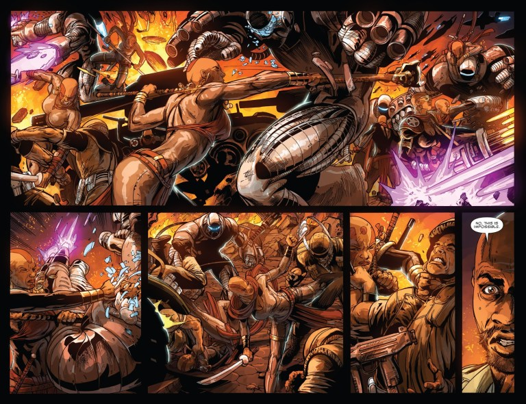 In 'Doomwar' (2010) #2, 500 Dora Milaje hold their own against 50000 of the Wakandan army.