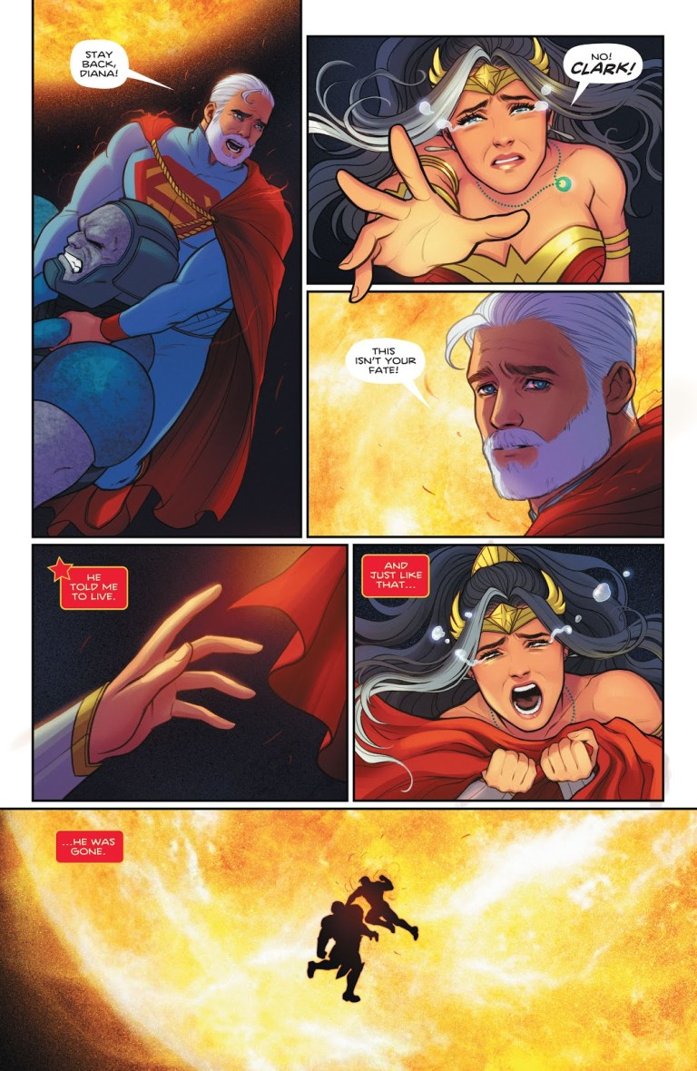 In 'Future State: Immortal Wonder Woman' (2021) #2, Superman battles Darkseid at the end of the universe, both dying in the sun.