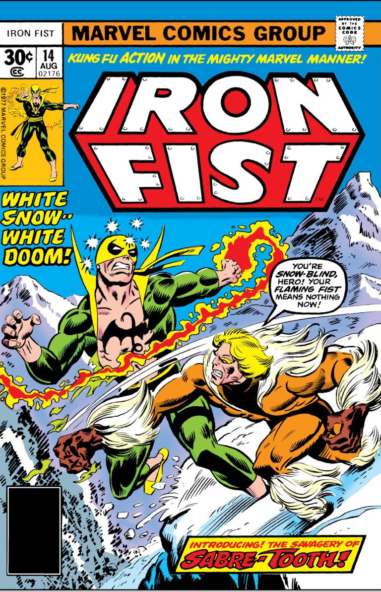 """'Iron Fist' (1977) #14, titled """"Snowfire"""", marks the first appearance of Sabretooth in Marvel continuity."""