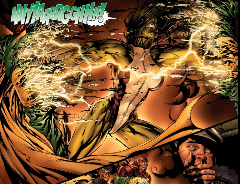 In 'Avengers' (2004) #500, a mind-controlled She-Hulk by Scarlet Witch rips Vision in half.