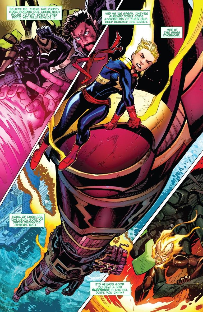 In 'Avengers' (2018) #2, Captain Marvel lifts a Celestial.