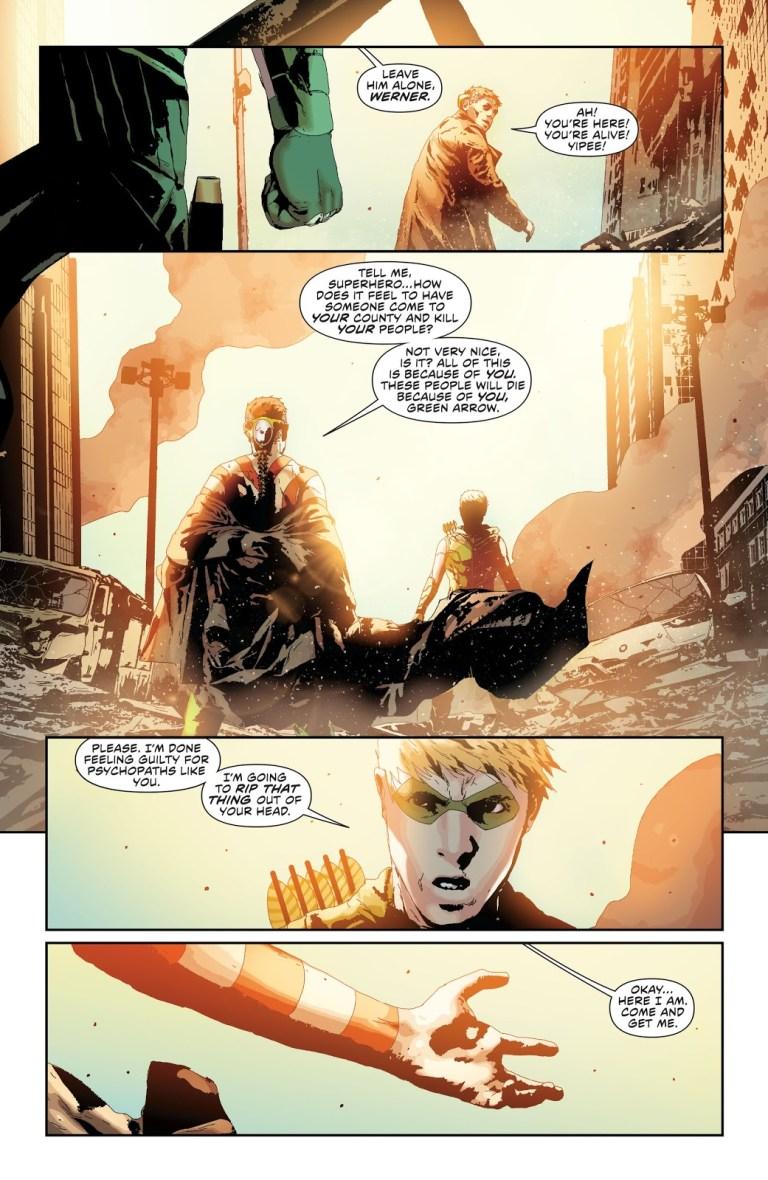 In 'Green Arrow' (2013) #24, Green Arrow overcomes eardrum pain in order to face Count Vertigo.