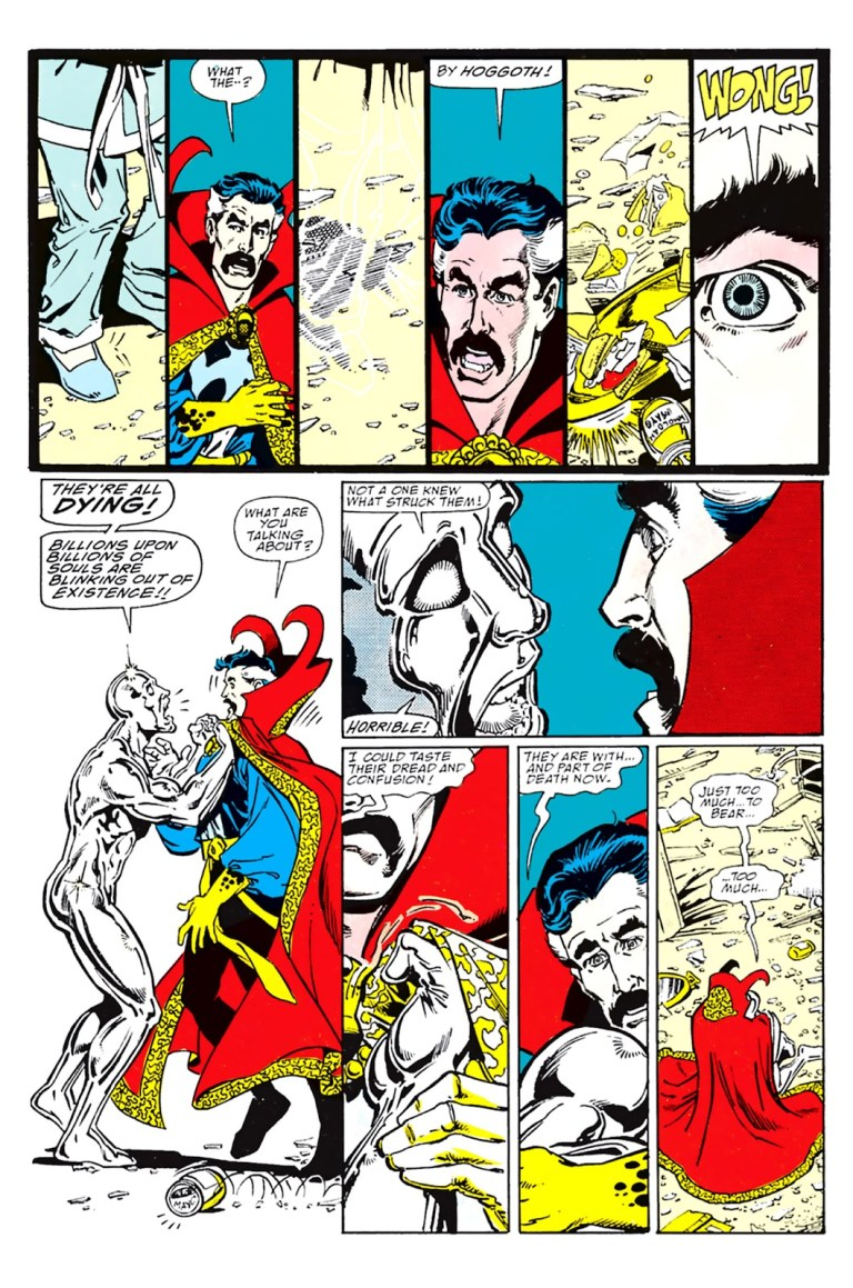 """In 'Infinity Gauntlet' (1991) #1, Silver Surfer's cosmic awareness estimates Thanos erases """"billions upon billions"""" of lives."""