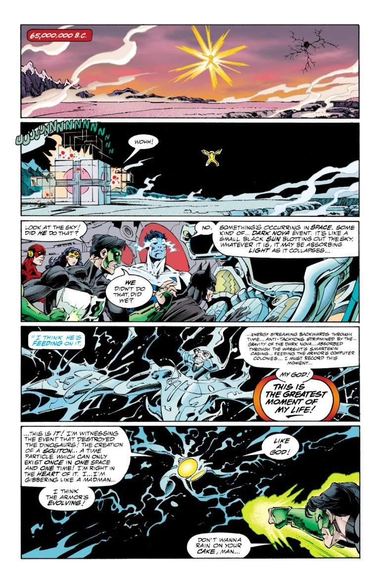 In 'JLA/WildC.A.T.s.' (1997), in 65,000,000 B.C., Epoch encounters a soliton that enhances his suit and allows him to use the Chrono Cube as a power source.