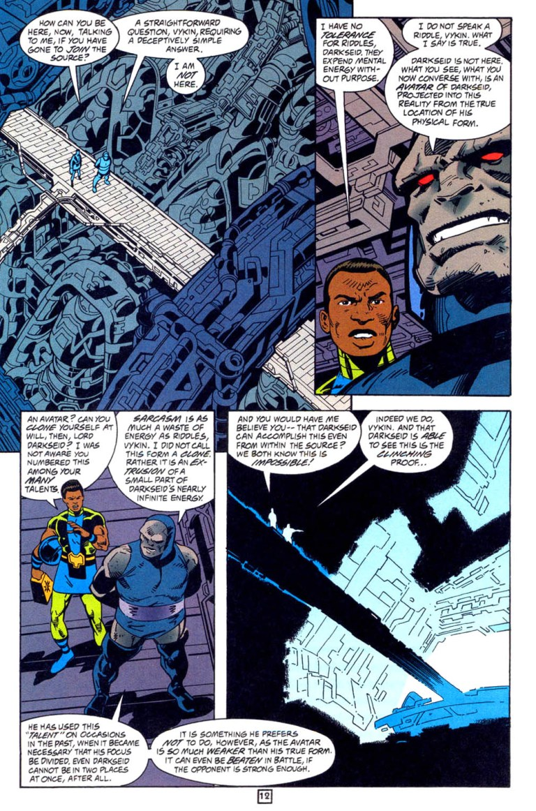 In 'New Gods' (1997) #15, an avatar of Darkseid appears in the Source Wall.