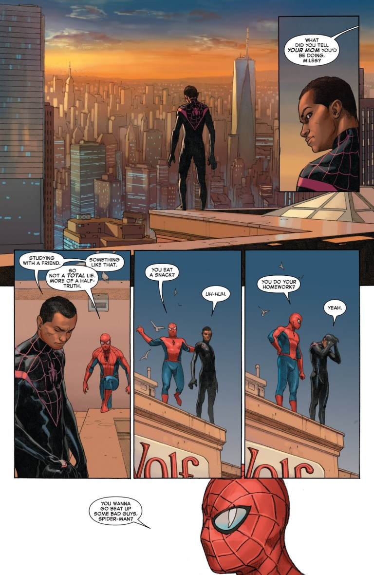 In 'Secret Wars' (2016) #9, Miles Morales joins the mainstream Marvel universe.