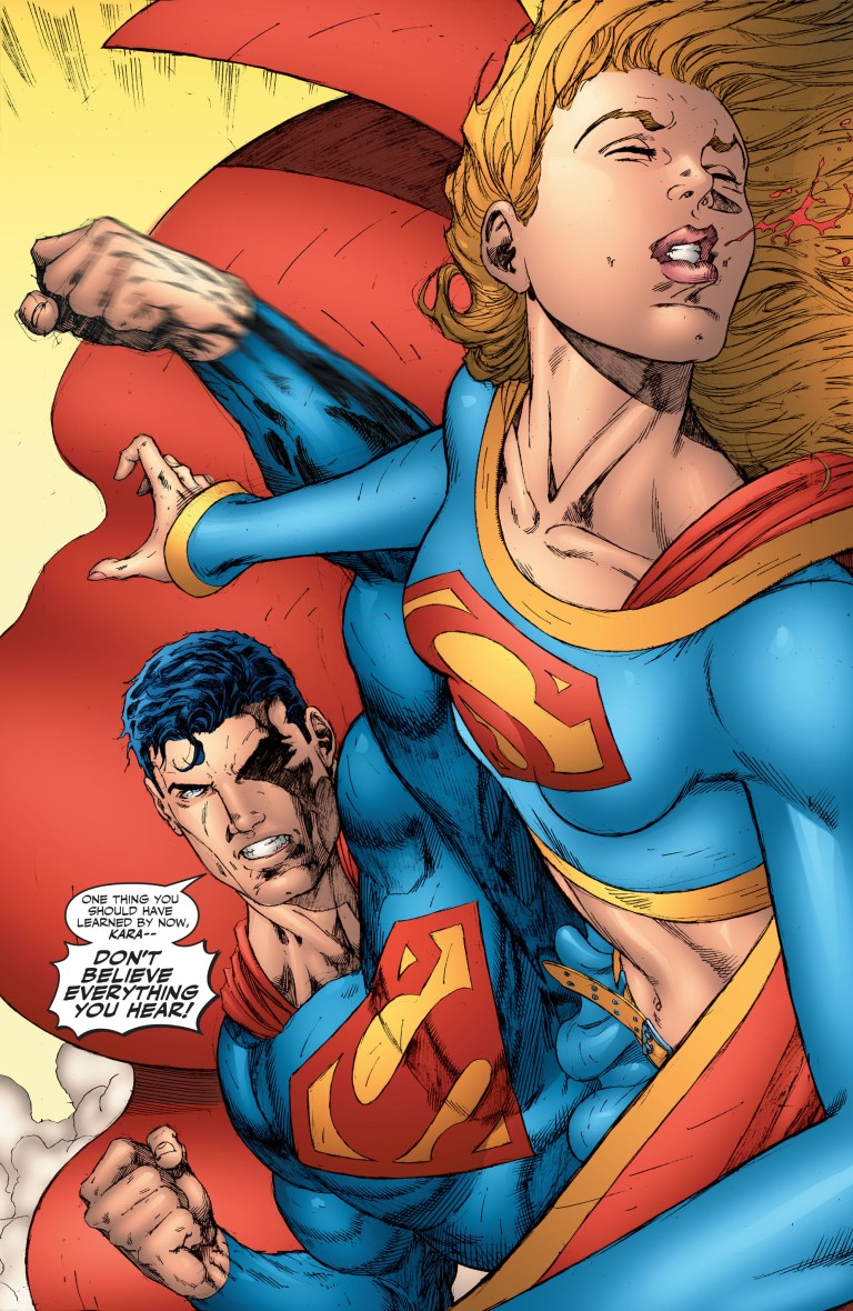 In 'Supergirl' (2006) #5, Superman reveals he is stronger than Supergirl.