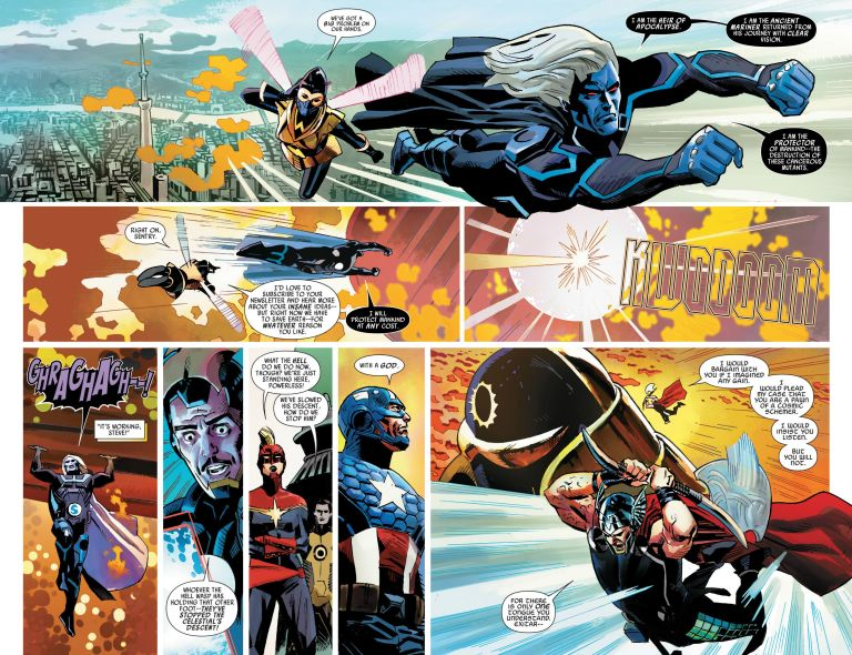 In 'Uncanny Avengers' (2014) #21, Sentry holds Exitar the Celestial's other foot to slow his descent on Earth.