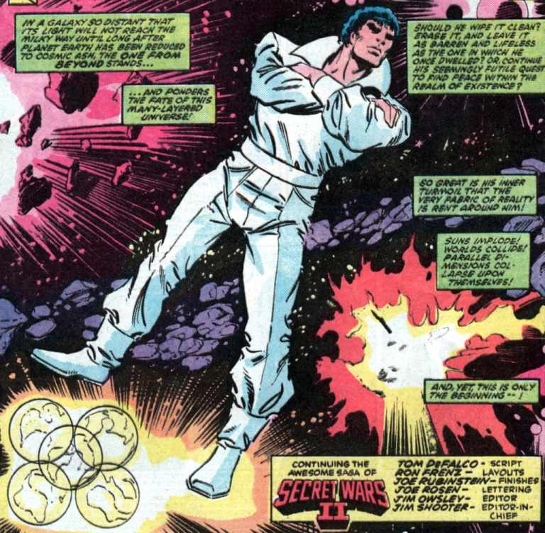 In 'Secret Wars' (1985) II, Beyonder contemplates whether to destroy the Marvel multiverse.
